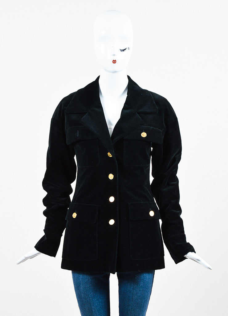 "Chanel Black Velvet Gold Toned Metal ""Coco Chanel"" Buttons Jacket Frontview 2"