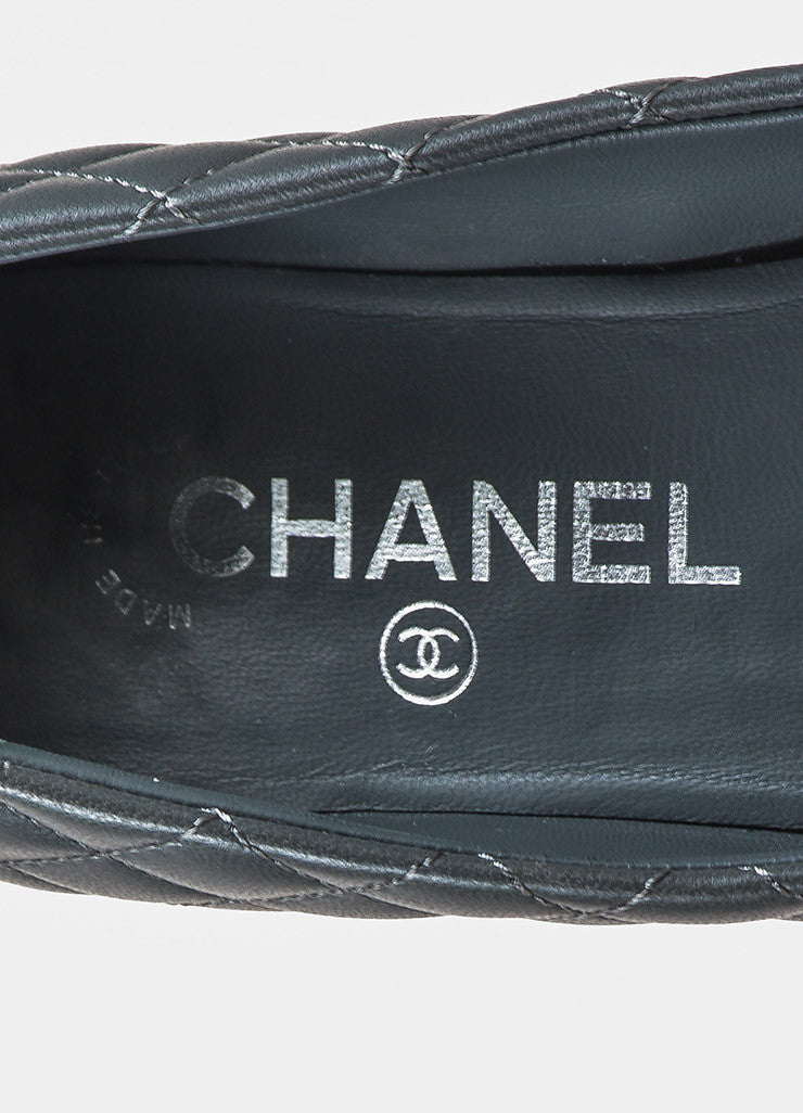 Chanel Grey and Black Quilted Leather 'CC' Logo Cap Toe Ballet Flats Brand