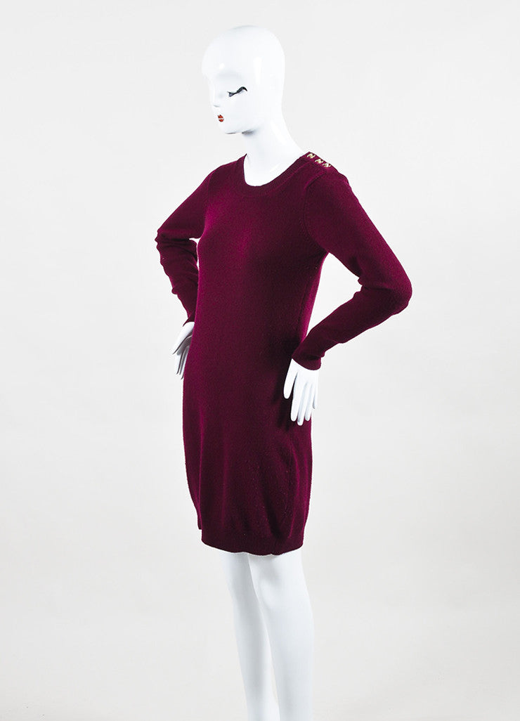 Chanel Maroon and Gold Toned Cashmere 'CC' Turnlock Detail Long Sleeve Sweater Dress Sideview