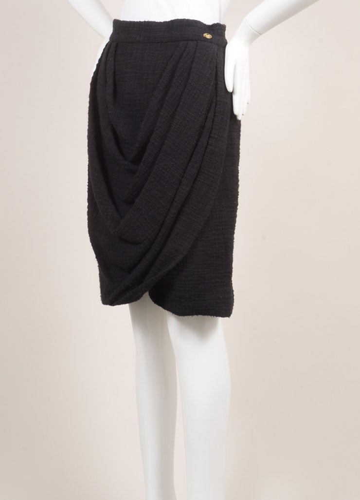 Chanel New With Tags Black Cotton Tweed Draped Pencil Skirt Sideview