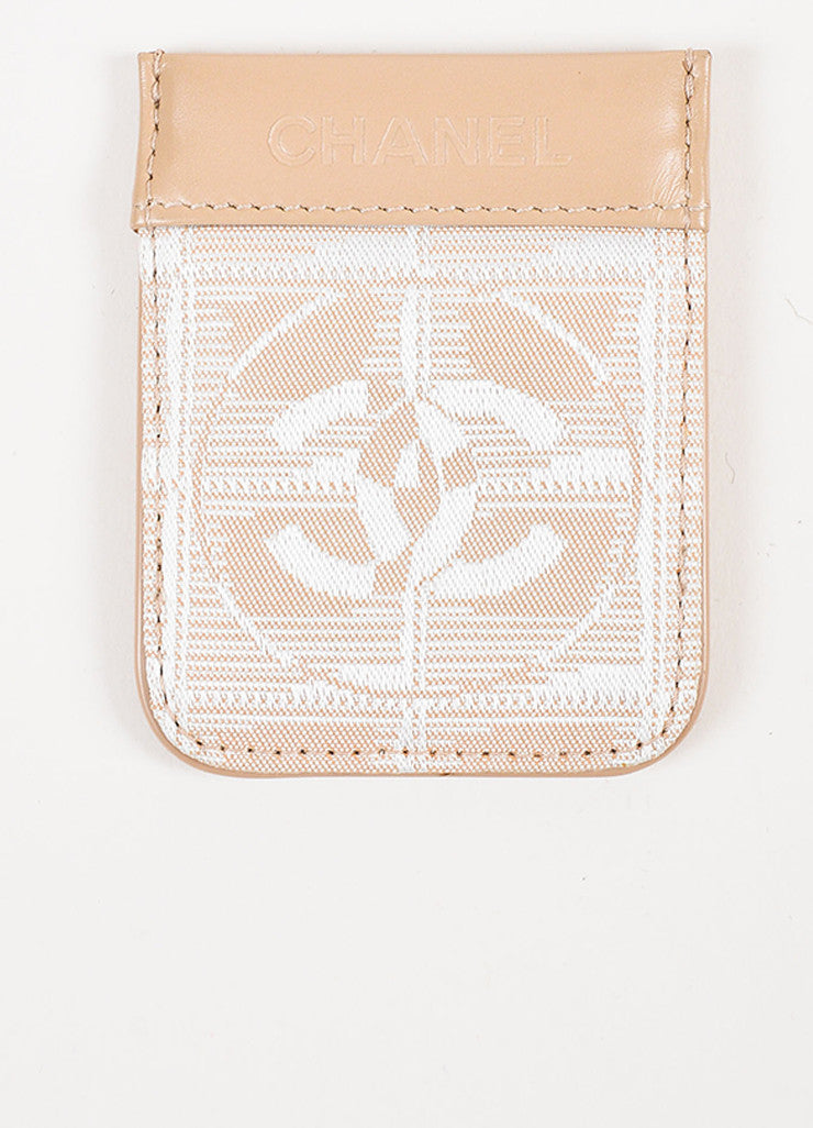 Chanel Nude Leather White Woven Silk 'CC' Logo Card Holder backview