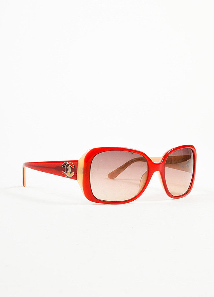 Chanel Red, Brown, and Cream Gradient Tint Mosaic 'CC' Detail Square Sunglasses Sideview