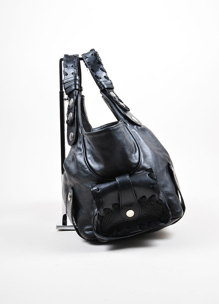 "Black Leather Chloe ""Silverado"" Whipstitch Studded Tote Bag Sideview"