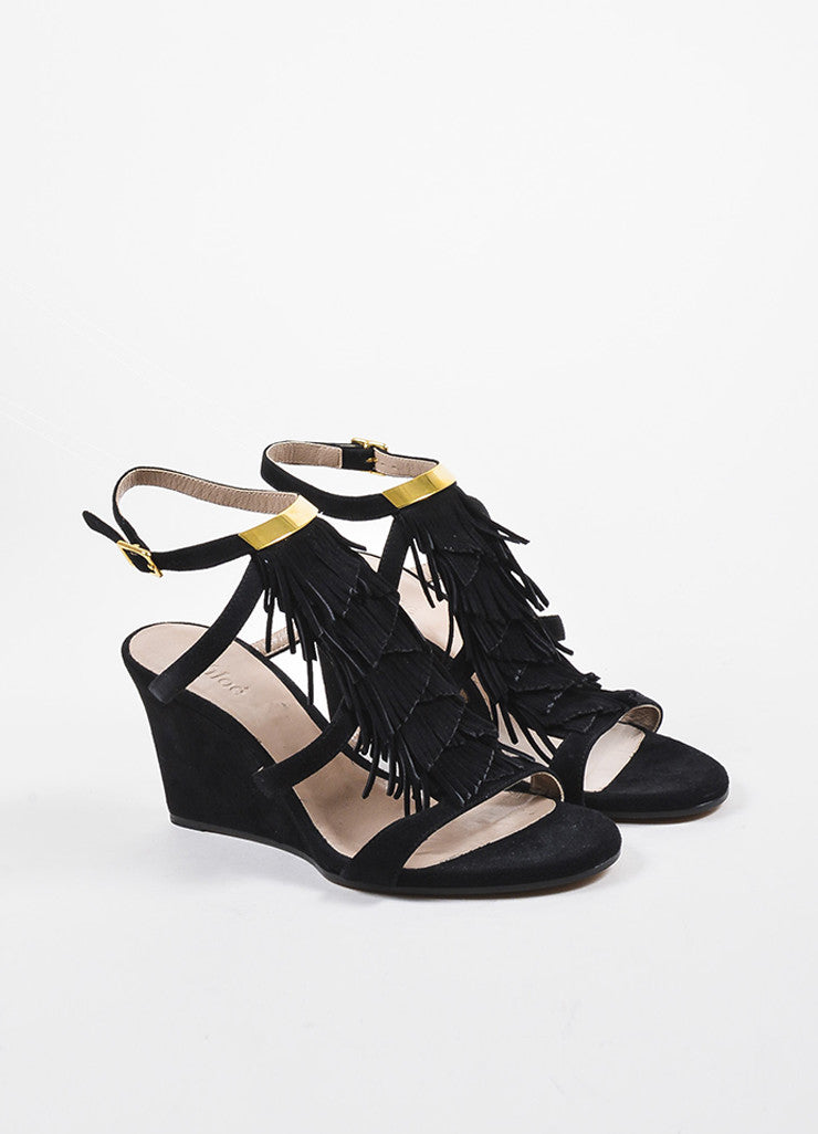 Black Suede Leather Tiered Fringe Strappy Wedge Sandals Frontview