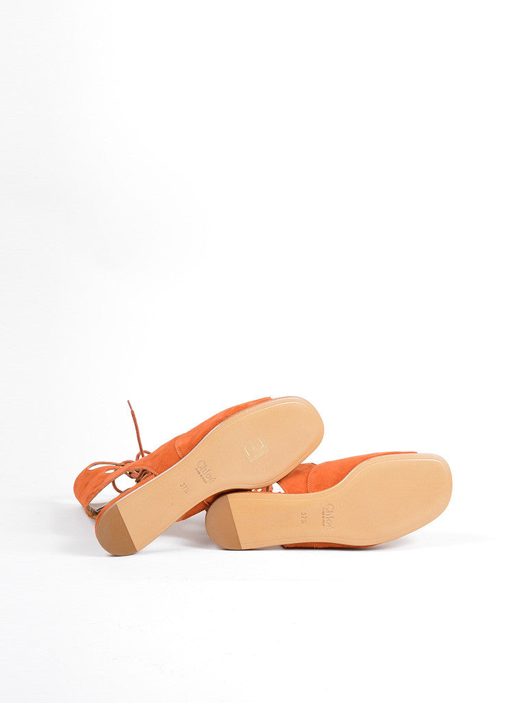 "Chloe Orange ""Sienna"" Suede Lace Up Gladiator Flat Sandals Outsoles"