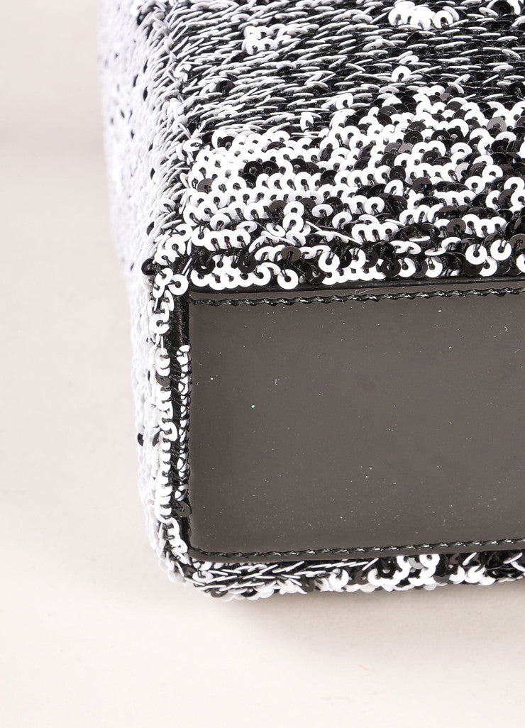 "Christian Dior Black and White Sequin and Patent Leather Small ""Lady Dior"" Bag Detail"