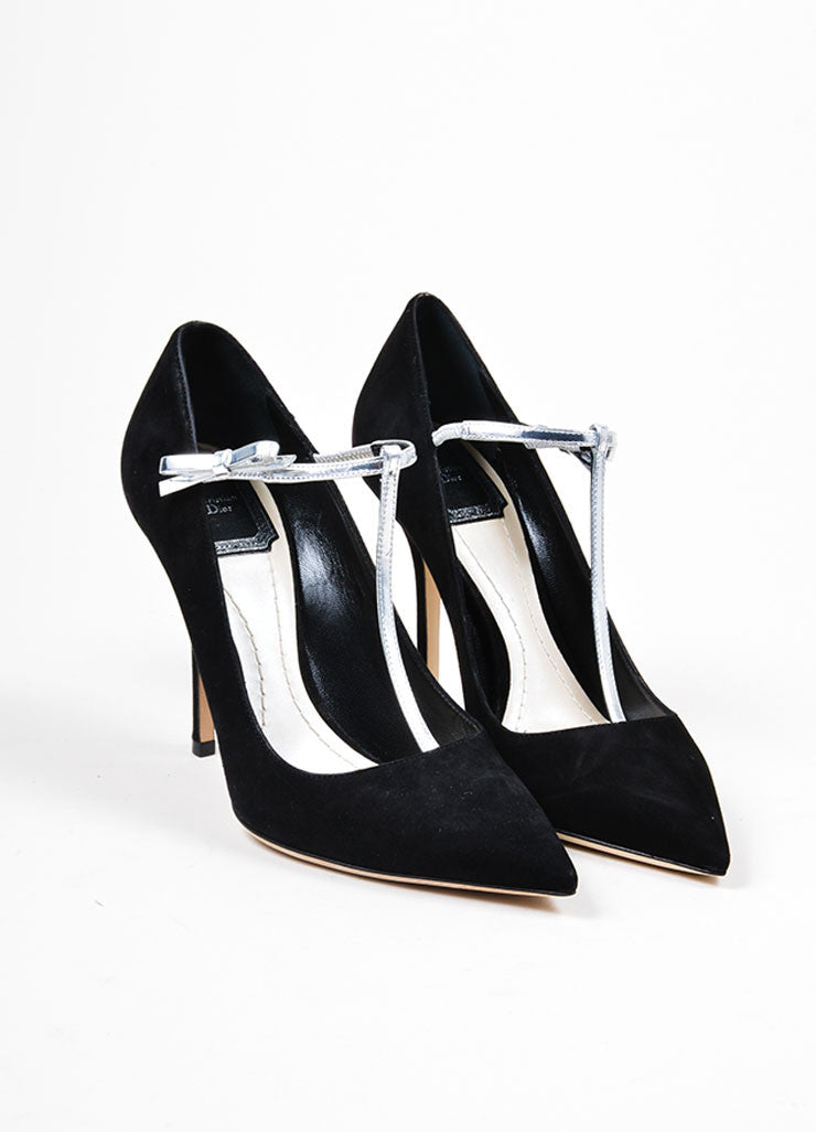 "Black Suede Leather Metallic T-Strap Christian Dior ""Coquette"" Pumps Frontview"