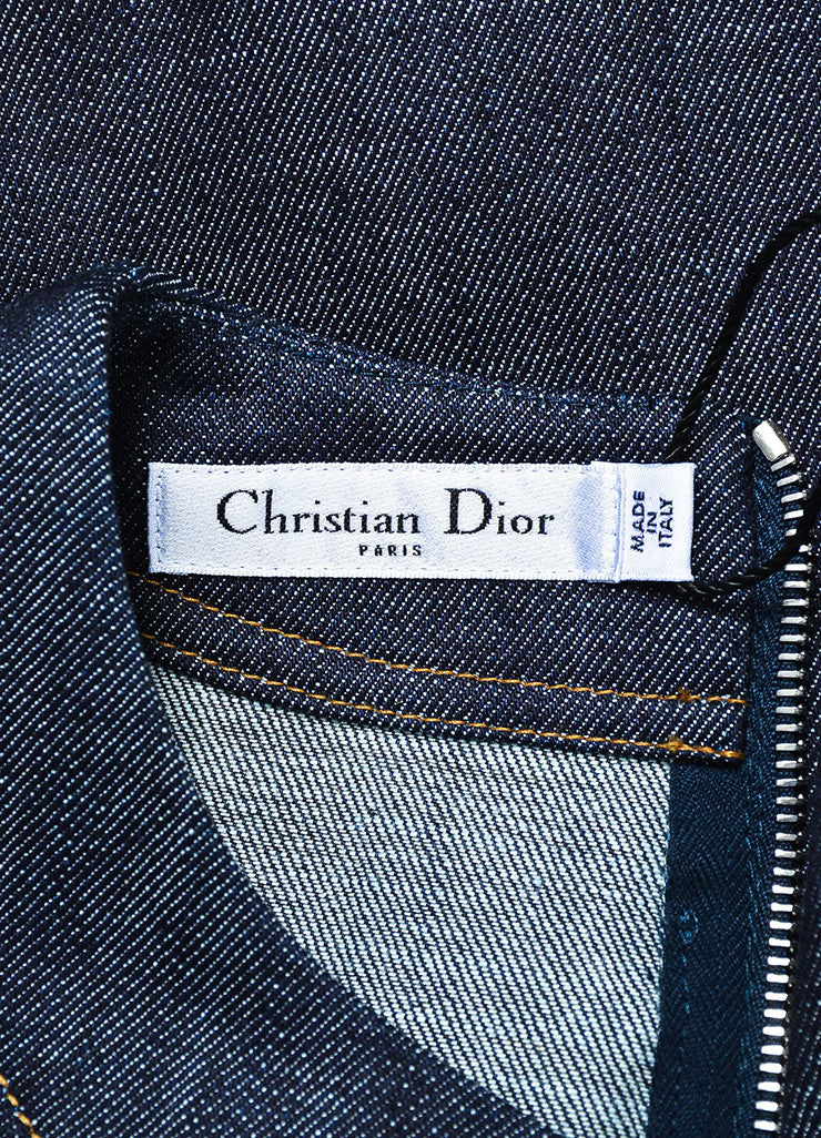 Blue Christian Dior Cotton Denim Fit Flare Jewel Pocket Dress Brand
