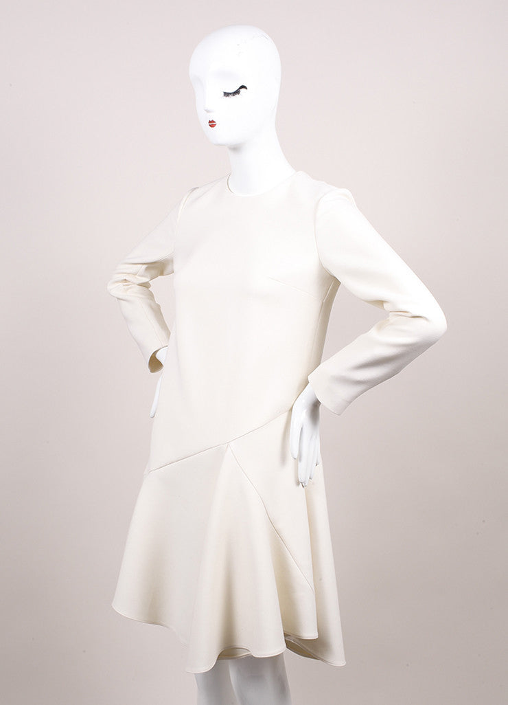 Christian Dior New With Tags Cream Crop Waist Stretch Wool Long Sleeve Flounce Dress Sideview