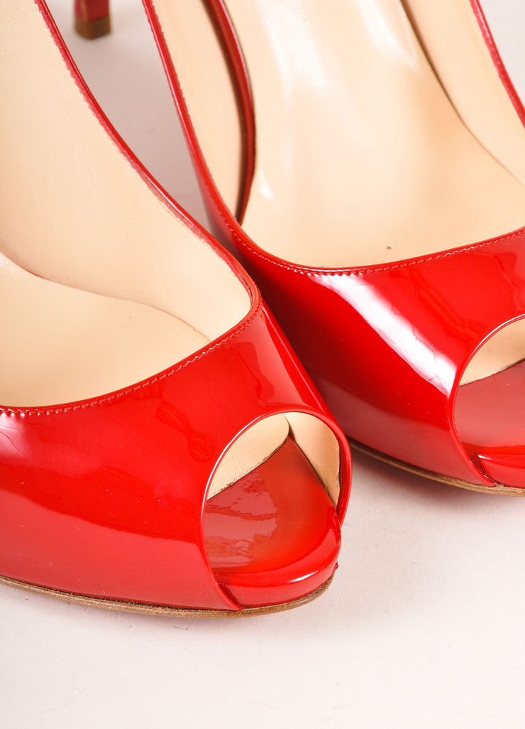 Christian Louboutin Red Patent Leather Peep Toe Slingback Pumps Detail