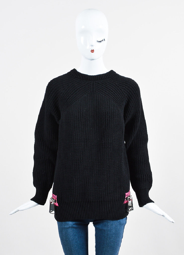 Christopher Kane Black and Fuchsia Knit Snakeskin Print Trim Zip Detail Sweater Frontview