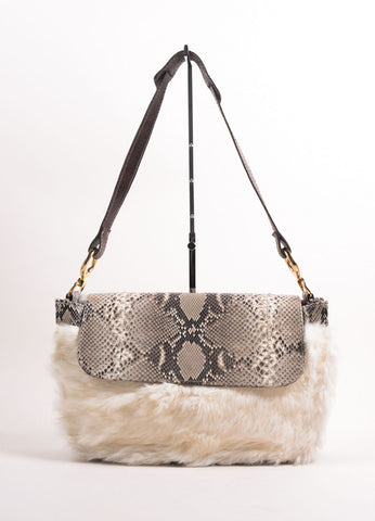 Diego Rocha Brown and Cream Snakeskin Fur Flap Shoulder Bag Frontview