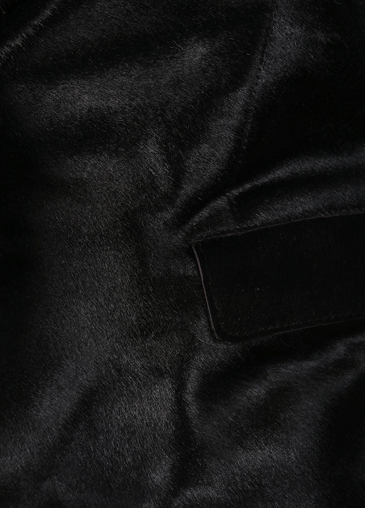Donna Karan Black Pony Hair Leather Long Sleeve Jacket Detail