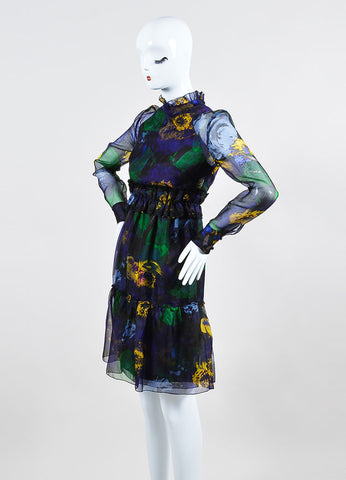 "Erdem ""Bancroft Purple"" Chiffon Overlay ""Devina"" Long Sleeve Dress Sideview"