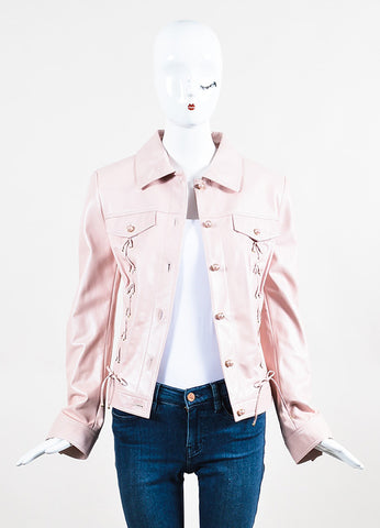 Escada Pink Leather Corset Detail Faux Pearl Button Jacket
