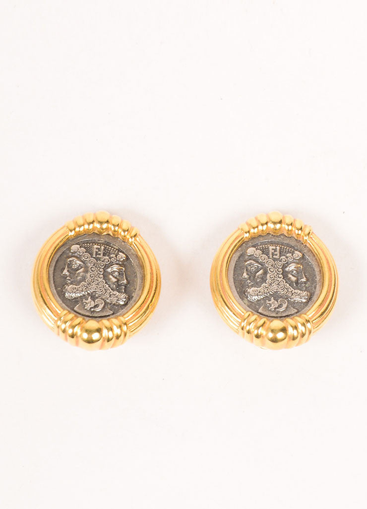 Fendi Gold Tone Gray Janus Face Logo Round Clip On Earrings Frontview