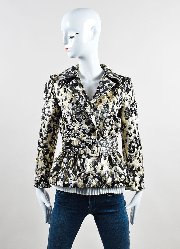 Giambattista Valli Cream, Black, and Gold Metallic Belted Peplum Jacket Frontview