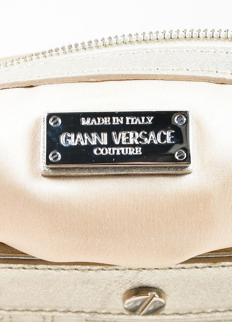 Gianni Versace Couture Silver Leather Quilted Braided Handle Screw Stud Handbag Brand