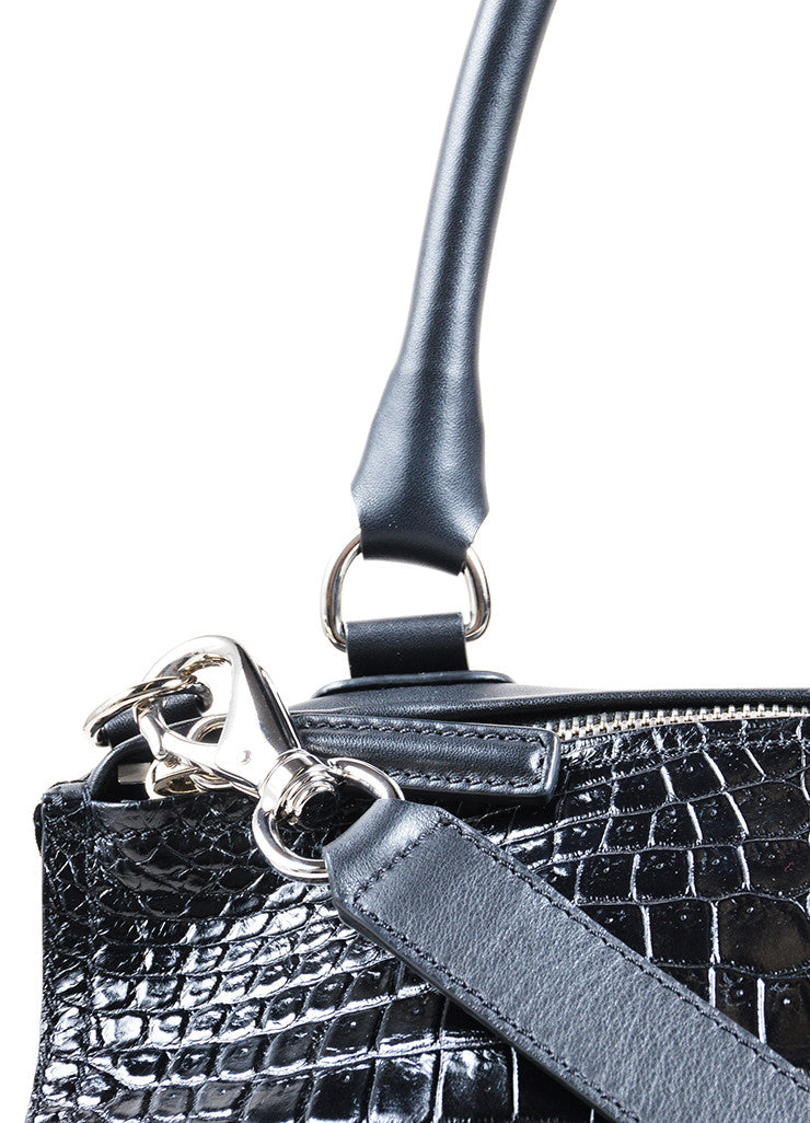 "Givenchy Black Crocodile Embossed Leather Suede ""Pandora"" Shoulder Bag Detail 2"