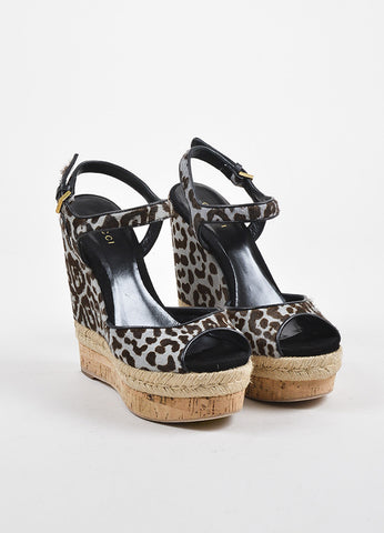 Blue-Grey and Brown Gucci Pony Hair Leopard Print Espadrille Wedges Front