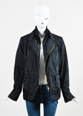 Gucci Black Nylon and Wool Ribbed Trim Double Zip Placket Jacket Frontview