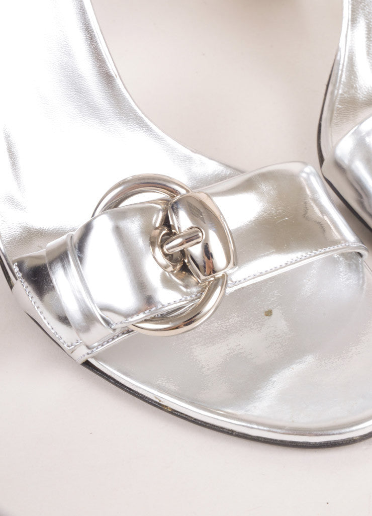 Gucci Metallic Silver Patent Leather Ankle Strap Buckle High Heel Sandals Detail