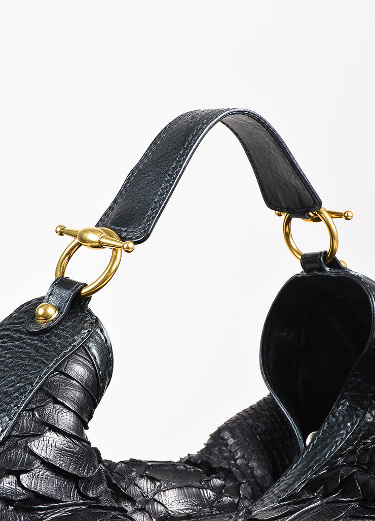 "Gucci Black Python Leather ""Large Jockey"" Hobo Bag Detail"
