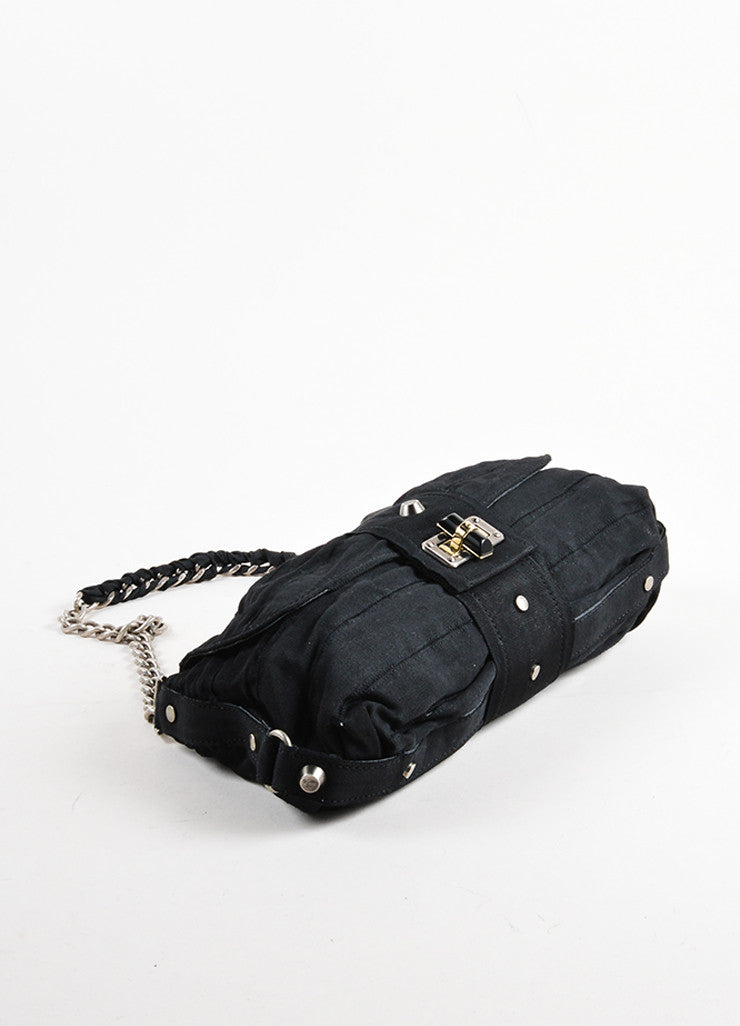 Gucci Black Chain Strap Ruched Shoulder Bag Top