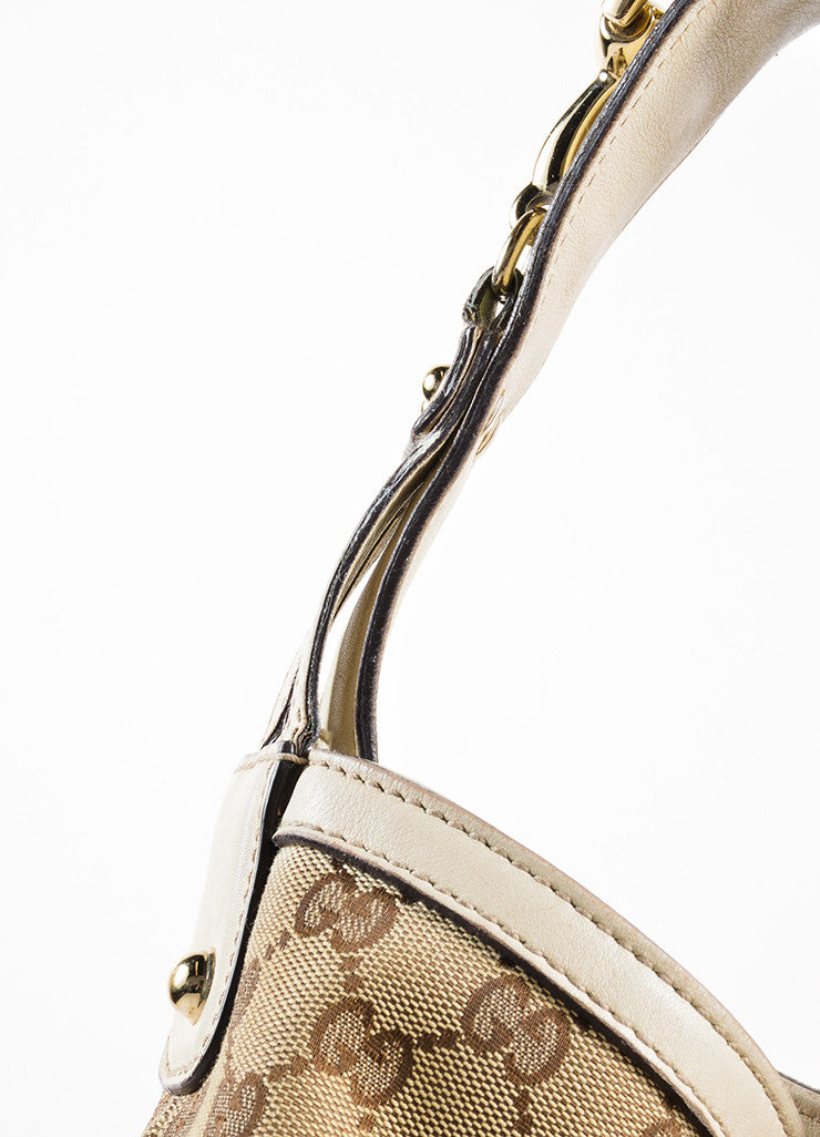 "Gucci Beige Monogram Canvas and Leather Horsebit ""Catena"" Hobo Bag Detail 2"