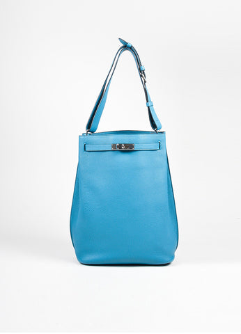 "Blue Hermes Togo Leather ""So Kelly 26"" Bucket Bag Frontview"