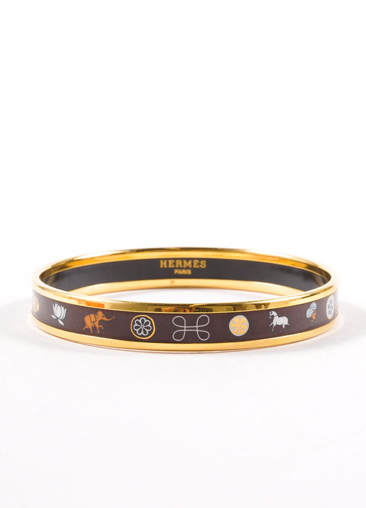 Hermes Gold Toned and Brown Printed Enamel Animal Figure Narrow Bangle Bracelet Frontview