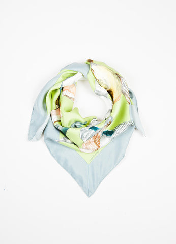 "Hermes Grey and Green ""Sauvagine En Vol"" Flying Duck Print Square Scarf Frontview"