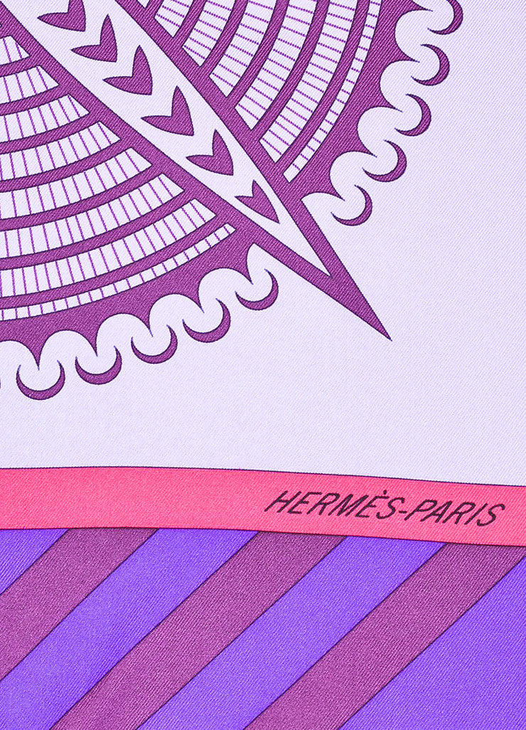 "Multicolor Hermes Silk ""Geometrie Cretoise"" Abstract Print Scarf Detail 2"