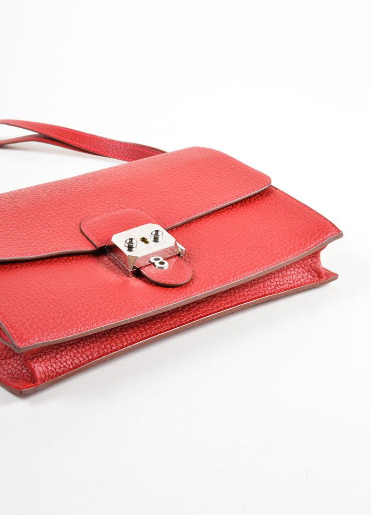 "Hermes Red ""Fjord"" Leather ""Jet"" Pochette Clutch Bag Bottom View"