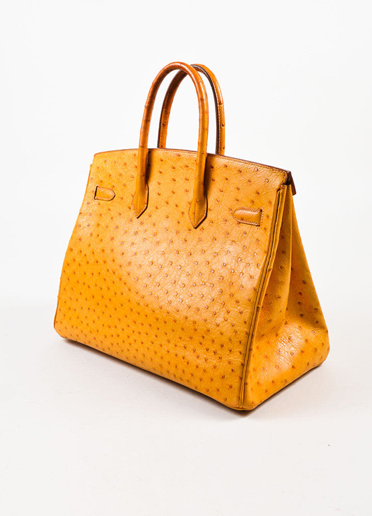 "Hermes 'Saffron' Orange Tan Ostrich Leather 35cm ""Birkin"" Handbag Sideview"
