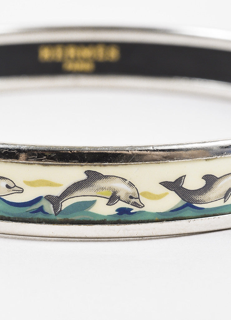 Hermes Silver Toned and Blue Palladium Plated Enamel Dolphin Print Bangle Bracelet Detail