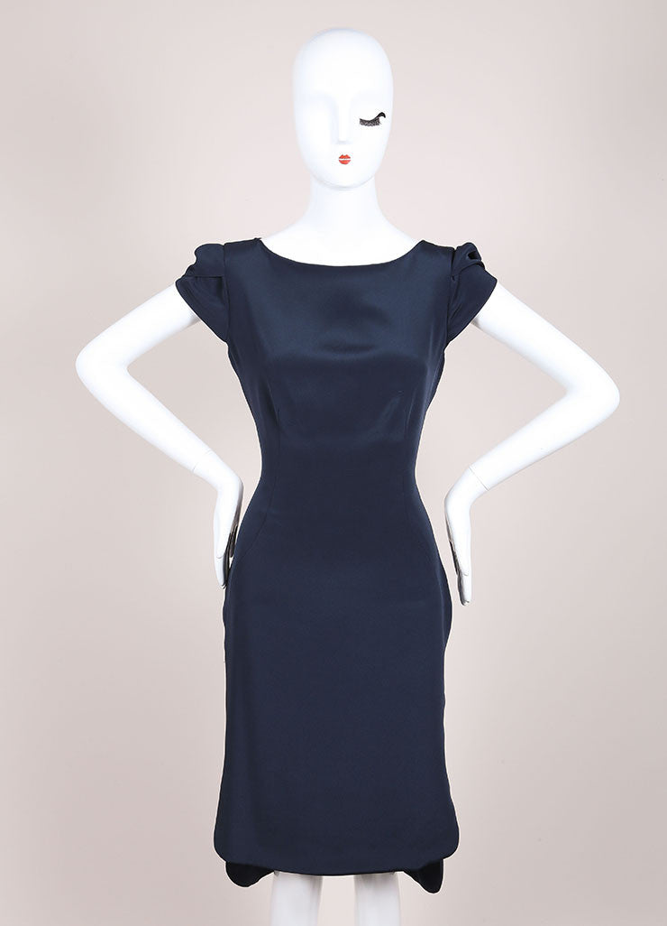 Holmes & Yang New With Tags Navy Silk Petal Sleeve Sheath Dress Frontview