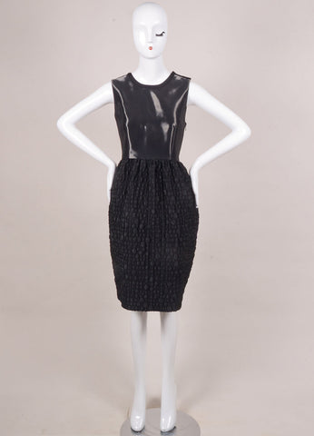 Honor New With Tags Black Liquid Textured Sleeveless Bell Dress Frontview