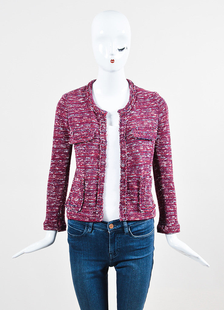 Isabel Marant Etoile Red, Navy, and White Knit Four Pocket Jacket Frontview