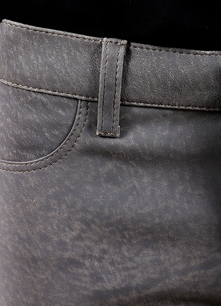 "J Brand Grey ""Rock"" Super Skinny Distressed Leather Pants Detail"