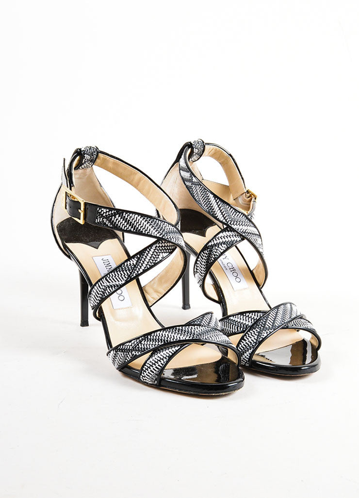 Black and White Jimmy Choo Woven Patent Leather Trim Strappy Sandal Heels Frontview