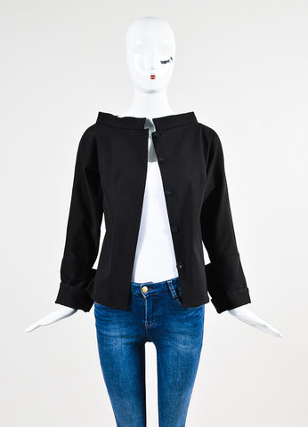 Karolina Zmarlak Black Cotton Wide Neck Structured Snap Jacket  Frontview
