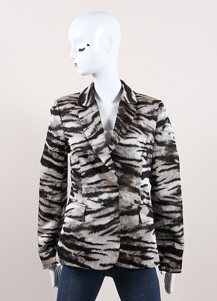 Lanvin New With Tags Silver, Bronze, and Brown Metallic Zebra Print Blazer Jacket Frontview