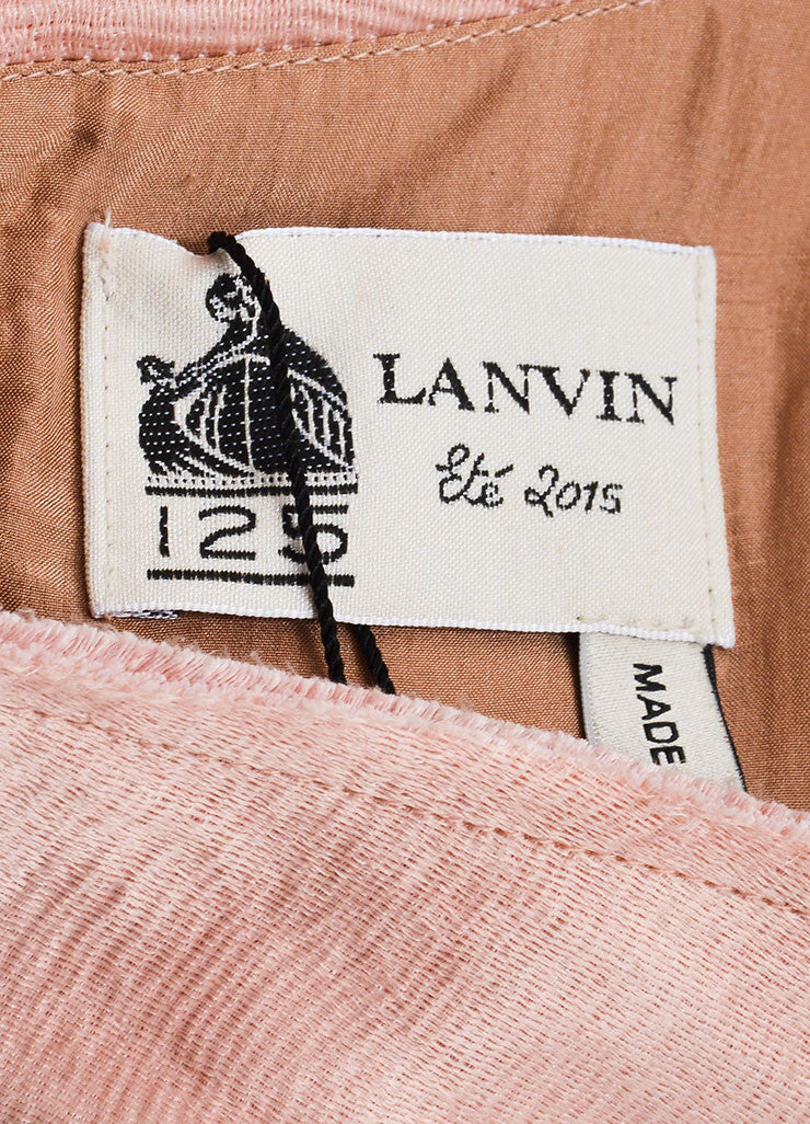 Blush Pink Lanvin Linen Textured Flower Bow Pleated Dress Brand