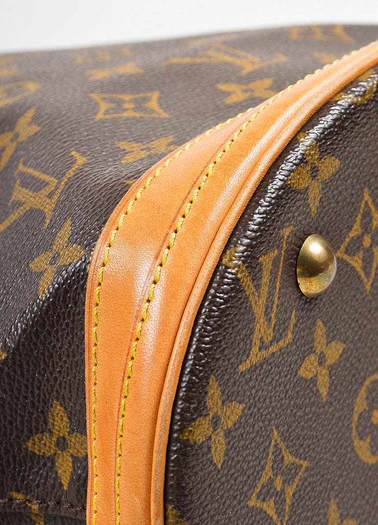 "Brown Louis Vuitton Coated Canvas Monogram ""Petit Bucket"" Tote with Pochette Detail"
