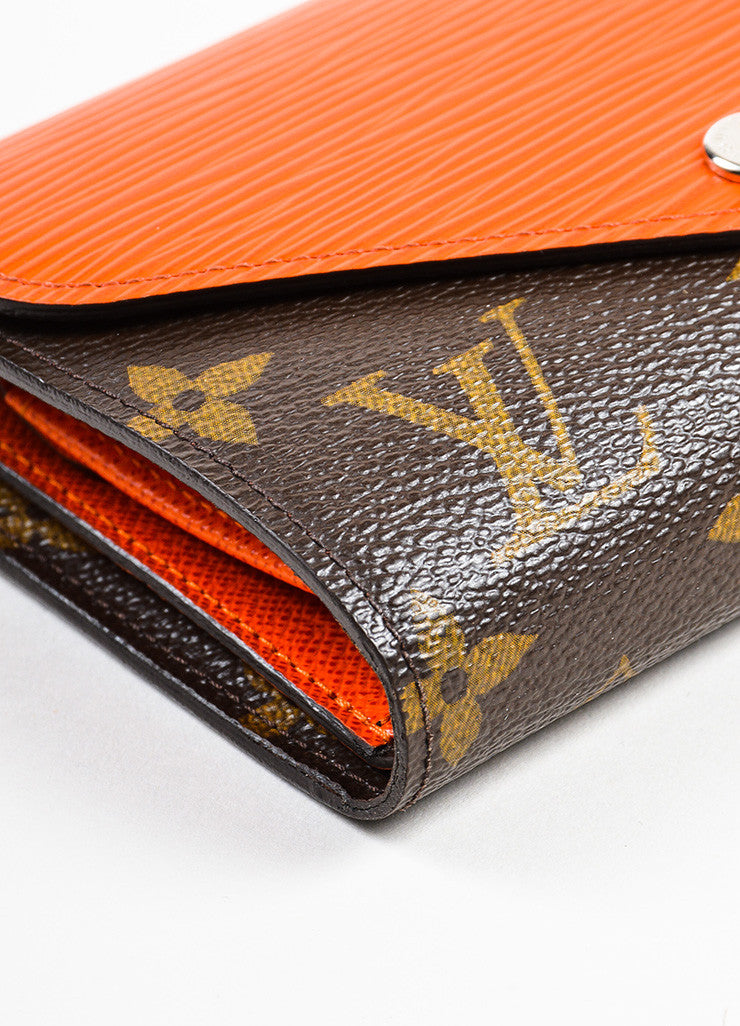 "Louis Vuitton Brown and Orange Epi Leather Monogram Compact ""Marie-Lou"" Wallet Detail"