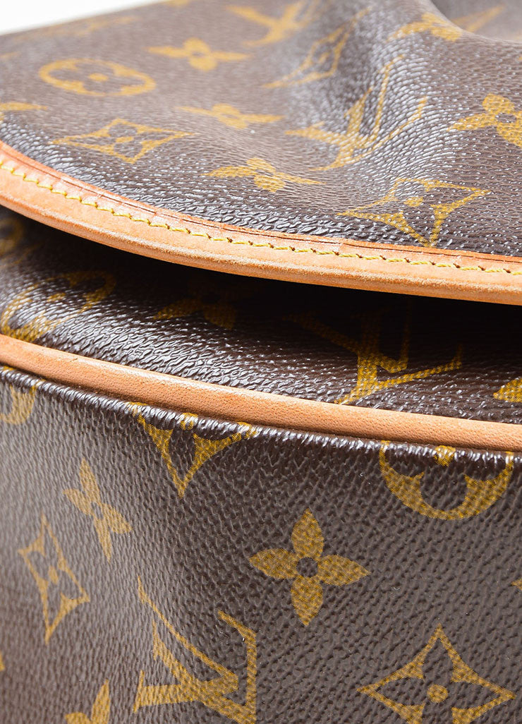 "Brown and Tan Louis Vuitton Coated Canvas Monogram ""Menilmontant MM"" Shoulder Bag Detail"