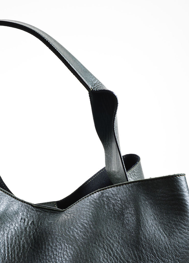 Dark Green and Black Leather Marni Color Block Hobo Bag Strap