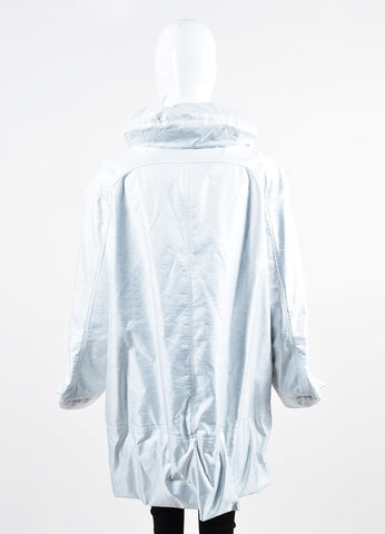 Marni White Opalescent Gathered Hem Coat Backview