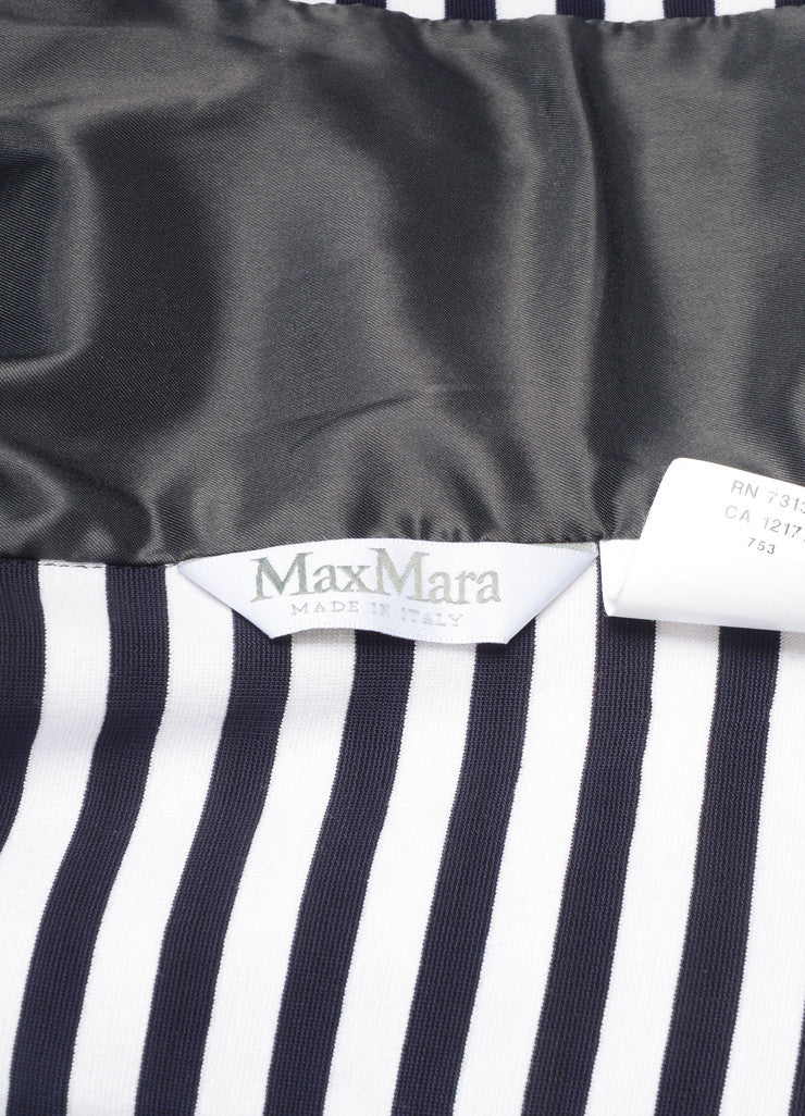 Max Mara White and Navy Knit Stripe Double Breasted Long Sleeve Blazer Brand
